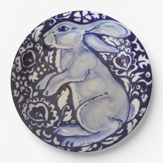Standing Blue and White Rabbit Dedham Paper Plate