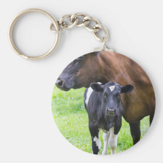Standing brown mother cow with black white calf basic round button keychain