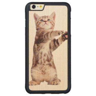 Standing cat - kitty - pet - feline - pet cat carved maple iPhone 6 plus bumper case