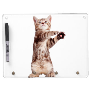 Standing cat - kitty - pet - feline - pet cat dry erase board with keychain holder