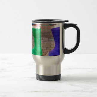 Standing child with two colorful gypsum legs travel mug