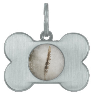 Standing Feather Pet Name Tag