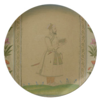 Standing figure of a nobleman, holding a book, fro plates