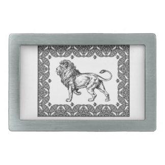 Standing Framed lion Rectangular Belt Buckle