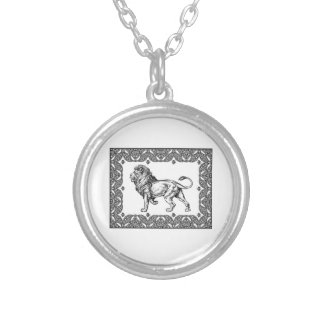 Standing Framed lion Silver Plated Necklace
