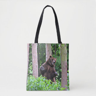 Standing Grizzly in the Woods Tote Bag