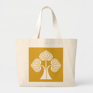 Standing hollyhocks divided into right large tote bag