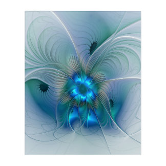 Standing Ovations, Abstract Blue Turquoise Fractal Acrylic Wall Art