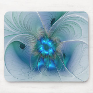 Standing Ovations, Abstract Blue Turquoise Fractal Mouse Pad
