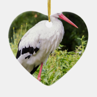 Standing stork ceramic heart ornament