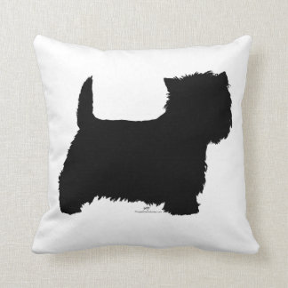 Standing Westie Silhouette Throw Pillow