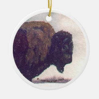 Stands Alone Buffalo Head Round Ceramic Ornament