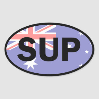 Standup Paddleboard Australia Flag Oval Sticker