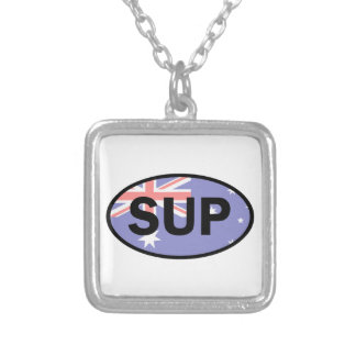 Standup Paddleboard Australia Flag Silver Plated Necklace