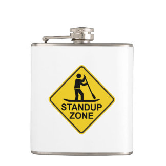 Standup Paddleboarding Zone Road Sign Hip Flask