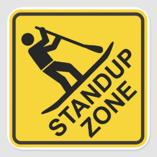 Standup Paddleboarding Zone Road Sign Square Sticker