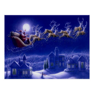 Stanta Claus Sleigh Poster