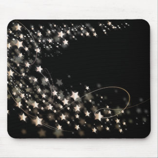 star-427748 DIGITAL BLACK SILVER WHITE SHINY STAR Mouse Pad
