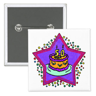 Star 50th Birthday Gifts 2 Inch Square Button