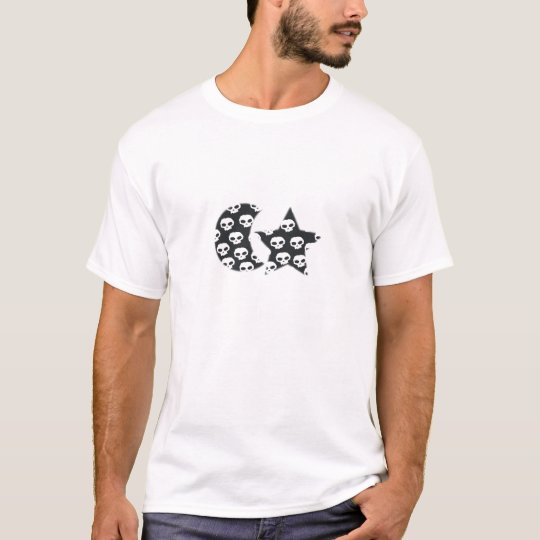 STAR AND MOON SKULLS............ROCK ON T-Shirt
