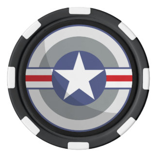 star and stripes shield poker chips