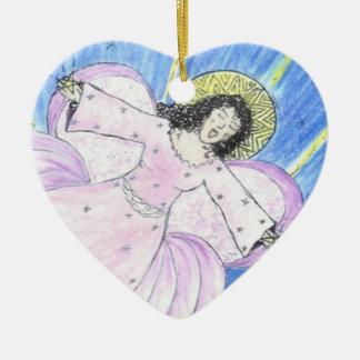 Star  Angel by Sandy Closs Ceramic Heart Ornament