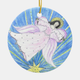 Star  Angel by Sandy Closs Round Ceramic Ornament