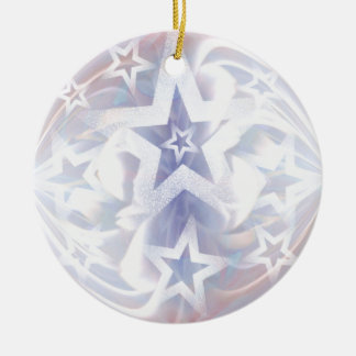 star bauble in white and lilac ceramic ornament