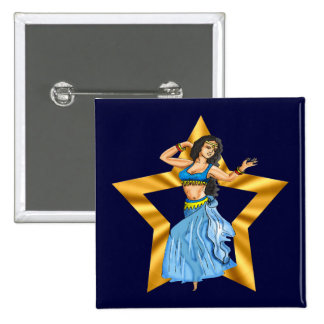 Star Belly Dancing Girl 2 Inch Square Button