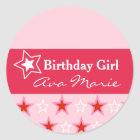 Star Birthday Girl Party Classic Round Sticker