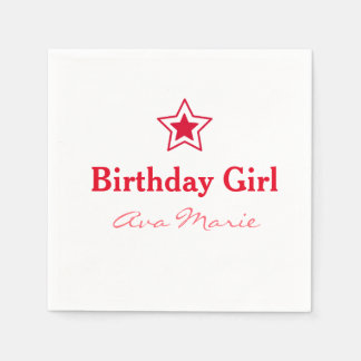 Star Birthday Girl Party Disposable Napkins