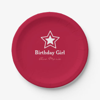 Star Birthday Girl Party Paper Plate