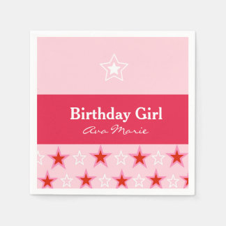 Star Birthday Girl Party, Pink & Red Disposable Napkins