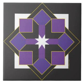 Star Block Tile, Trivet or Top - Purple & Black