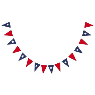 Star Blue and Red Bunting Flags