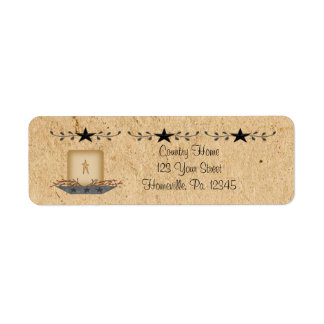 Star Border Candle Small Label Return Address Label