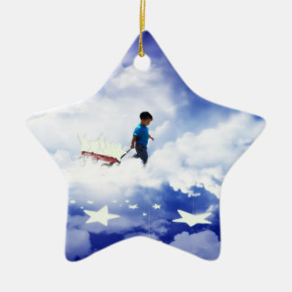 Star Boy with Little Red Wagon of Stars Ceramic Ornament