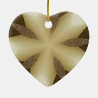 Star Brown White Rustic Design Colors Ceramic Heart Ornament