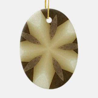 Star Brown White Rustic Design Colors Ceramic Oval Ornament
