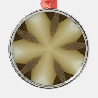 Star Brown White Rustic Design Colors Silver-Colored Round Ornament