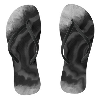 Star Burst Black Agate, Cool Natural Stone Unique Flip Flops