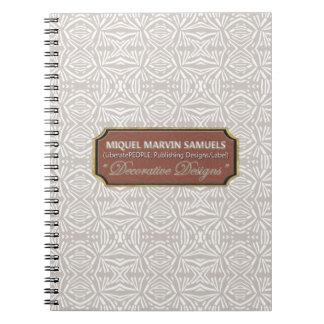 Star Burst Decorative Gray White Notebook