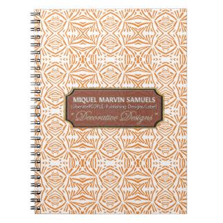 Star Burst Decorative Orange White Modern Notebook