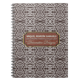 Star Burst Decorative White Brown Modern Notebook