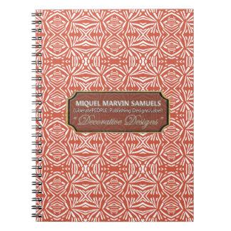 Star Burst Decorative White Orange Modern Notebook