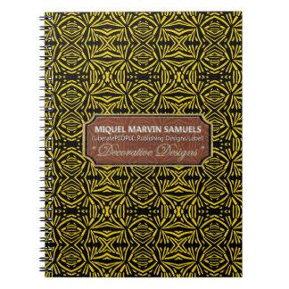 Star Burst Decorative Yellow Black Modern Notebook