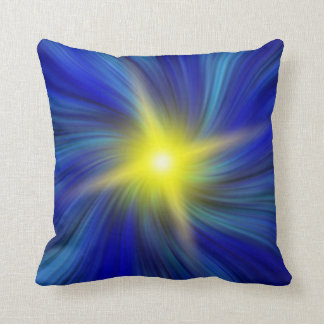 Star Burst in Blue Vortex Throw Pillow