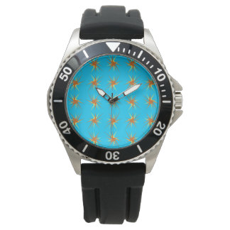 Star bursts pattern in cream and beige, turquoise watch