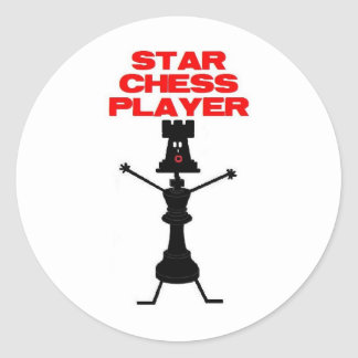 Star Chess Player Cartoon Classic Round Sticker