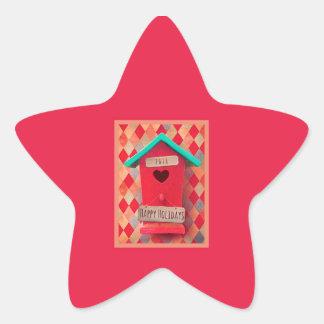 Star Christmas Bird House Stickers, Glossy Star Sticker